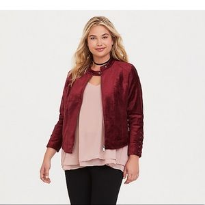 🐼Torrid LATTICE VELVET MOTO JACKET